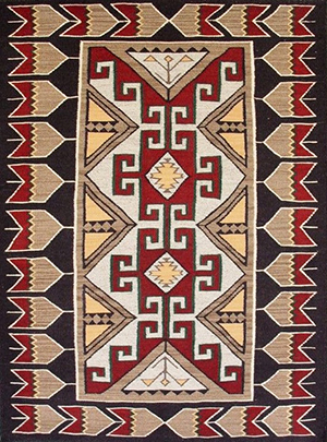 Navajo blanket created from sheep's wool and native plant dyes.