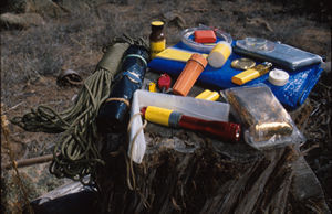 Multi-use survival kit for desert and mountain regions